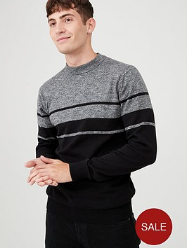 v-by-very-block-stripe-crew-neck-jumper-greyblack