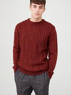 v-by-very-cable-knit-crew-jumper-red