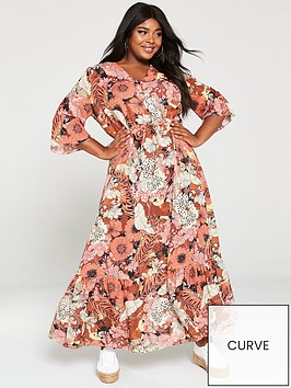 v-by-very-curve-printed-button-maxi-dress-floral-print