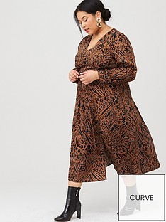 v-by-very-curve-split-front-animal-midi-dress-print