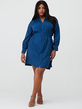 v-by-very-curve-belted-shirt-dress-navy