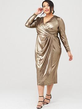 V by Very Curve V By Very Curve Metallic Wrap Midi Dress - Gold Picture