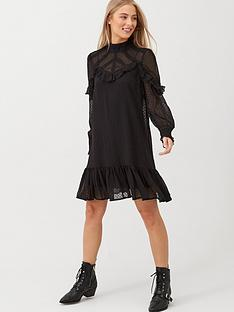 v-by-very-ruffle-dobby-high-neck-tunic-black