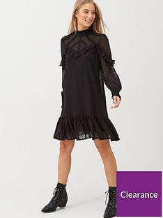 v-by-very-ruffle-dobby-high-neck-tunic-black