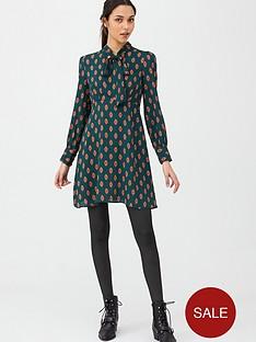 v-by-very-tie-neck-skater-dress-print