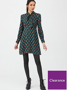 v-by-very-tie-neck-skater-dress-print