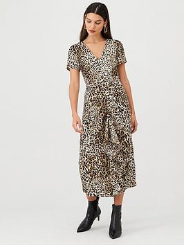 V by Very V By Very Leopard Ruffle Front Midi Dress - Leopard Picture
