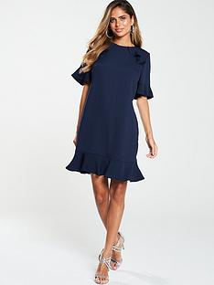 v-by-very-ruffle-detail-formal-tunic-dress-navy