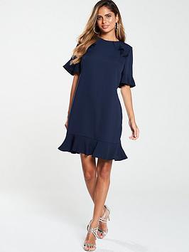 v-by-very-ruffle-detail-formal-tunic-dress-navy