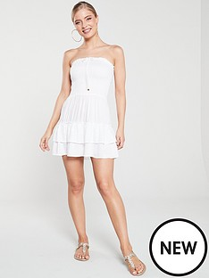 river-island-river-island-shirred-mini-beach-dress-white