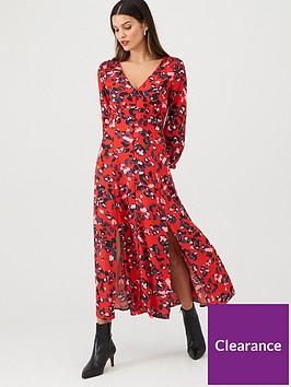 v-by-very-button-through-v-midi-dress-print