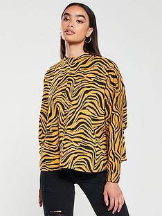 v-by-very-zebra-print-high-neck-sweater-mustard