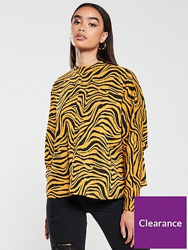 v-by-very-zebra-print-high-neck-sweater-mustard