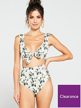 v-by-very-lemon-spot-print-tie-front-bikini-top-print