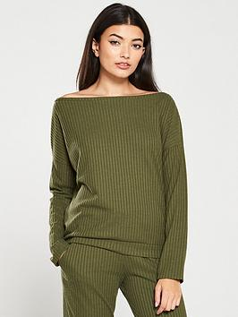 v-by-very-ribbed-snit-slouch-co-ord-top-khaki