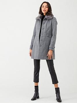 oasis-faux-fur-trim-formal-coat-grey