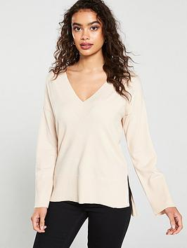 oasis-v-neck-stepped-hem-christy-jumper