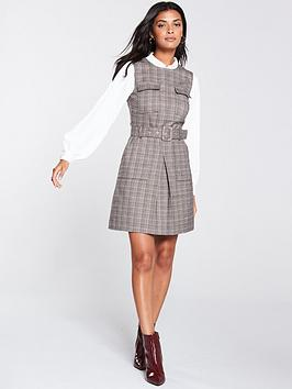 oasis-chocolate-box-check-utility-shift-dress-multi