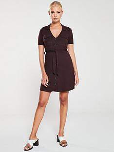 river-island-river-island-ribbed-jersey-utility-dress-chocolate