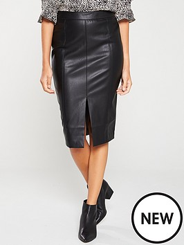 oasis-faux-leather-split-front-pencil-skirt-black