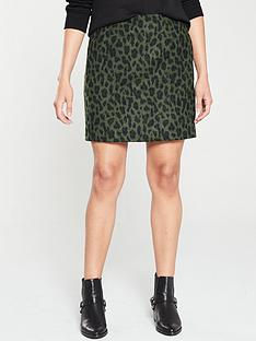 warehouse-animal-jacquard-pelmet-skirt-green