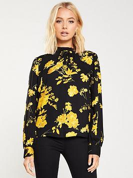 warehouse-wall-flower-high-neck-top-yellow