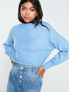 warehouse-cosy-wide-rib-funnel-neck-jumper-pale-blue