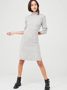 warehouse-wide-ribbed-jumper-dress-grey