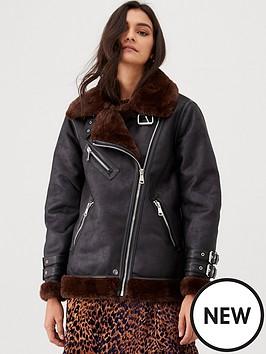 warehouse-oversized-faux-fur-aviator-coat--nbspchocolate