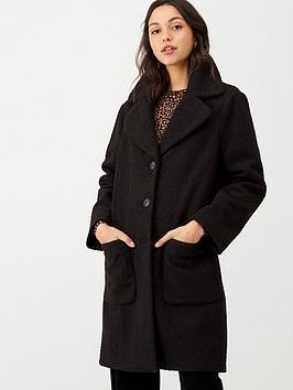 warehouse-faux-fur-teddy-coat-black