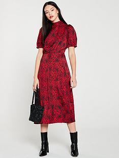 warehouse-puff-sleeve-animal-dress-red