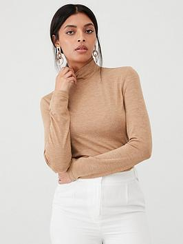 Warehouse Warehouse Knitted Funnel Neck Top - Camel Picture