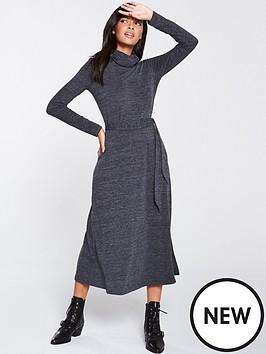 warehouse-cowl-neck-midi-dress-grey-black