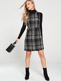 warehouse-sparkle-check-tweed-dress-mono