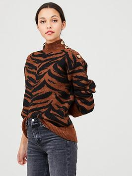 Warehouse Warehouse Cosy Zebra Jumper - Chocolate Picture