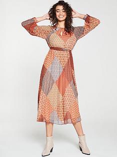 warehouse-geo-scarf-print-pleated-midi-dress-orange