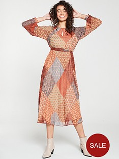 warehouse-geo-scarf-print-pleated-midi-dress-orange
