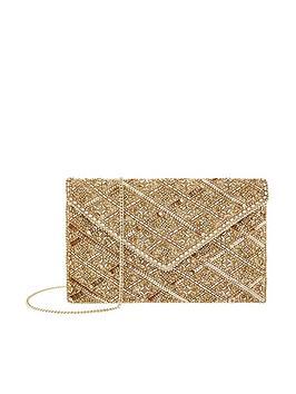 Accessorize Accessorize Rosie Embellished Clutch Bag - Gold Picture