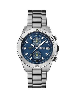 boss-boss-blue-and-yellow-detail-chronograph-dial-stainless-steel-bracelet-mens-watch