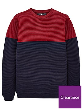 v-by-very-boys-colour-block-textured-jumper-navy