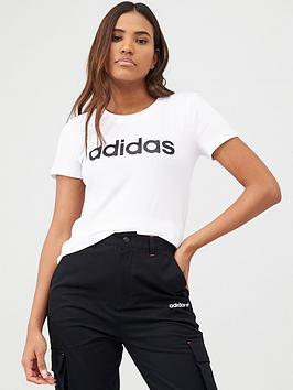 Adidas   Essentials Linear Slim Tee - White