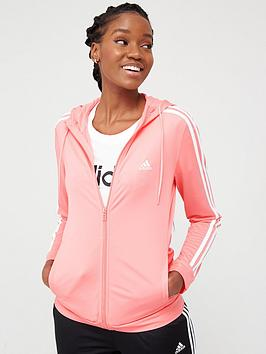Adidas Adidas 3 Stripe Full Zip Hooded Tracksuit - Pink/Black Picture