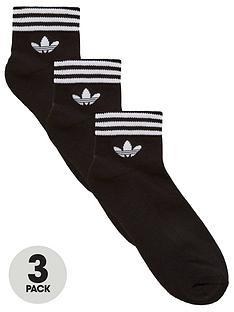 adidas-originals-3-pack-trefoil-ankle-sock-black