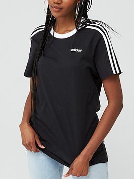 Adidas Adidas Essentials 3 Stripe Boyfriend Tee - Black Picture