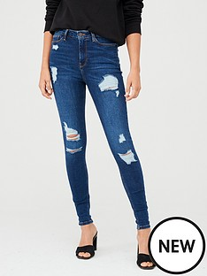 v-by-very-short-ella-high-waist-random-rip-skinny-jeans-dark-wash