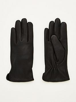 V by Very V By Very Plain Leather Gloves - Black Picture