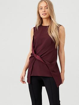 V By Very Twist Front Satin Back Blouse - Berry