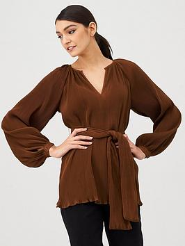 V by Very V By Very Pleated Tie Front Tunic - Rust Picture