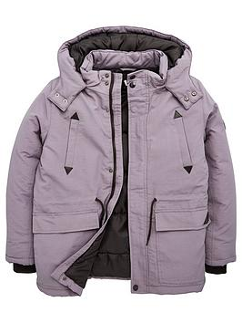 V by Very V By Very Boys Hooded Coat - Grey Picture