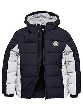 V by Very V By Very Boys Reflective Padded Coat - Navy Picture